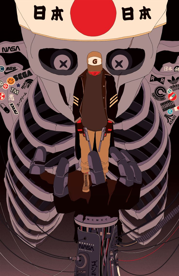 """""""XMAU"""" is an Argentina-based 2D illustrator and animator whose work combines urban motocross/hip hop/b-boy culture with traditional asian ghost symbology."""