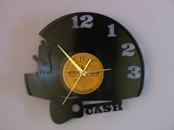 Johnny Cash Cash Cash art Wall clock vinyl record by Revinyljr