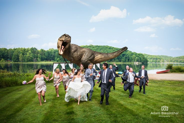 Jurassic Park wedding, featuring Jeff Goldblum. This is awesome, but 3/4 of that wedding party clearly doesn't understand the gravity of this situation.