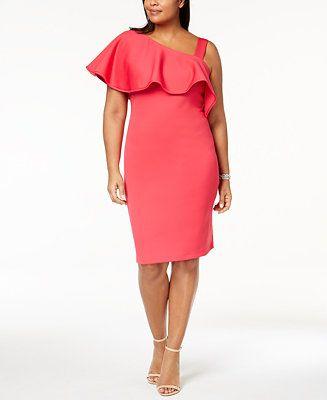 Calvin Klein Plus Size One-Shoulder Ruffle Scuba Dress - Dresses - Women - Macy's