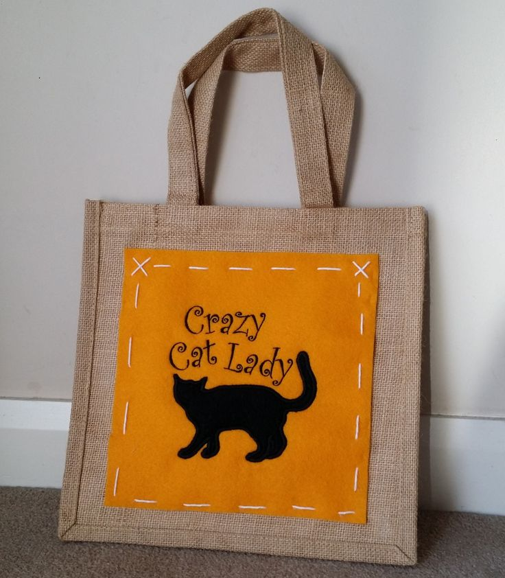 Jute bag with embroidered panel - Crazy Cat Lady Design by MadeByMAP on Etsy