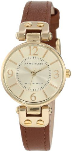 Anne Klein Women's 109442CHHY Gold-Tone Champagne Dial and Brown Leather Strap Watch Anne Klein: $39.99
