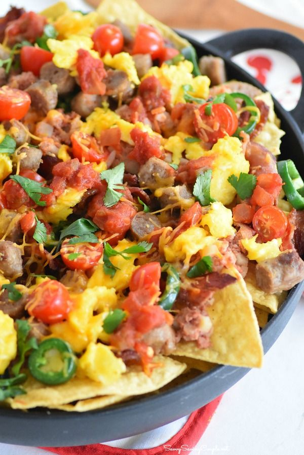 Ultimate Skillet Breakfast Nachos - Savvy Saving Couple
