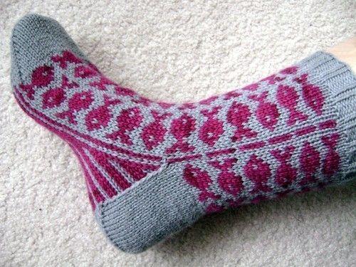 Swedish Fish sock pattern by spillyjane on Etsy, $6.00