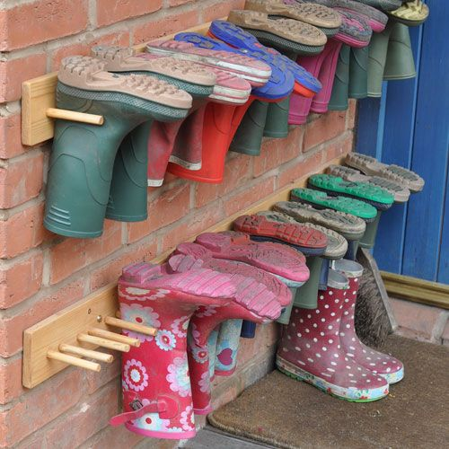 Click Pic for 32 DIY Shoe Organizer Ideas - Peg Rack for Rain Boots - DIY Shoe Storage Ideas