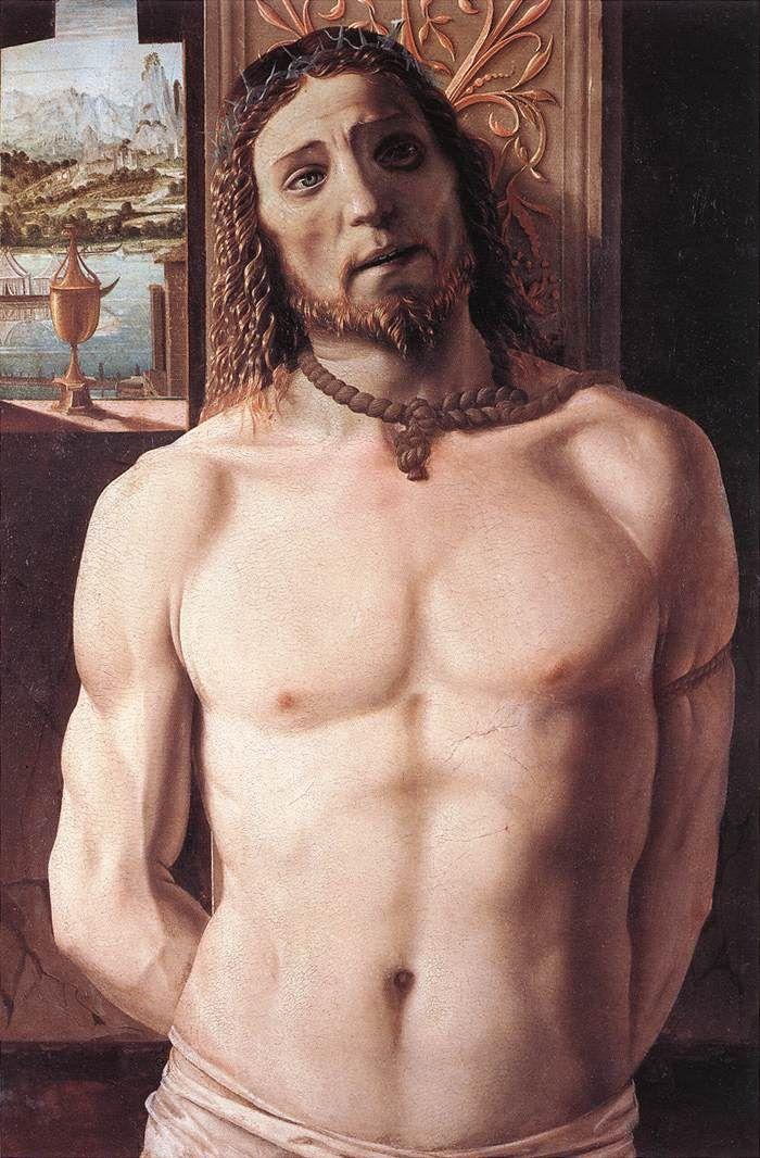 Донато Браманте. Christ at the Column c. 1490 Tempera on panel, 93 x 62 cm Pinacoteca di Brera, Milan.