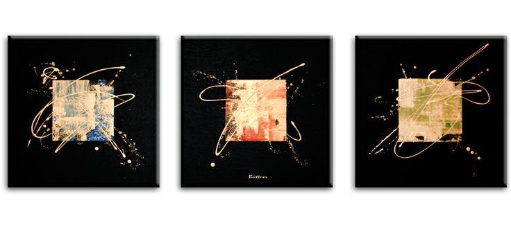 3-LUIK-SCHILDERIJ 3-LUIK-SCHILDERIJEN: Drie zwarte kunstschilderijen met een kader in het midden van het doek. Deze drie doeken naast elkaar vormen een stijlvol 3 luik kunstwerk.
