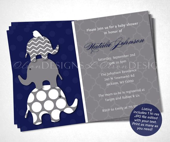 Navy Elephants Baby Shower Invitation  DIY Printable