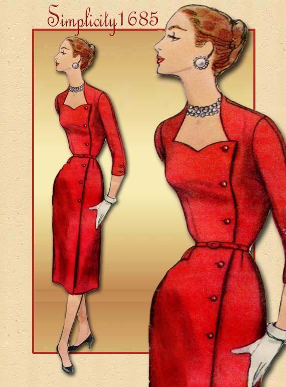 Vintage Dress Pattern Simplicity 1685 1950s Sheath Skirt Dress with Side Closure Unused Pattern. $22.00, via Etsy.