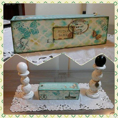 Caja de cartas en verde caribe de #monitor , #vintagestyle , #vintage , #cajas…