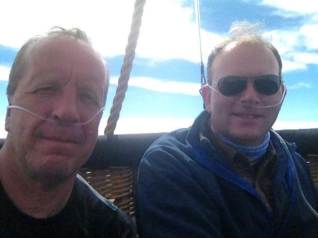 Clive Bailey & Paul Spellward on oxygen during the 2013 Gordon Bennett Gas Balloon Race