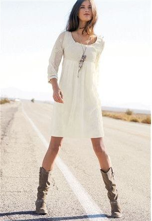 flowy white summer dress w/ cowboy boots #style