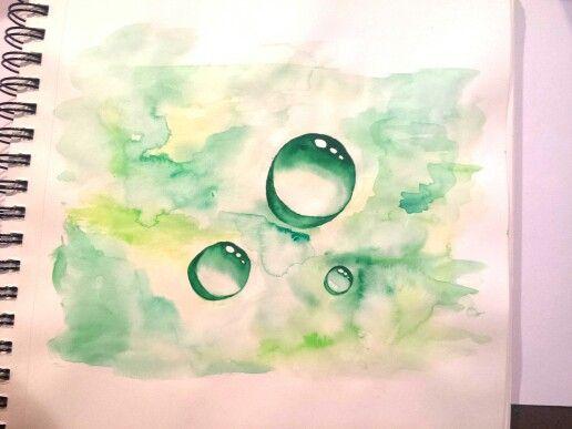 Droplets, watercolor