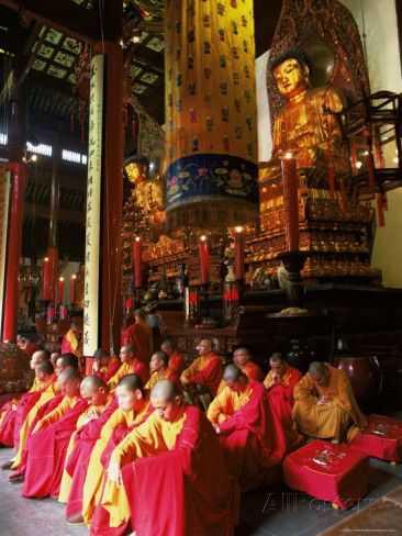 images of buddhists at worship | Buddhist Monks Worshipping in the Grand Hall, Jade Buddha Temple (Yufo ...