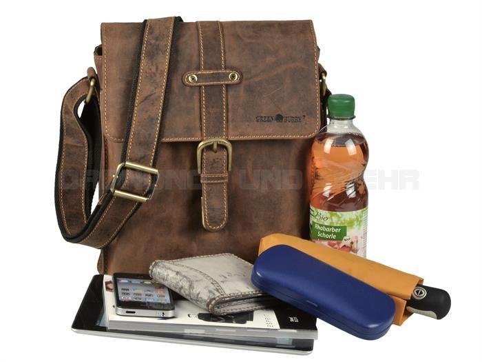Greenburry VINTAGE - Leder Kuriertasche Umhängetasche Herrentasche - antikbraun