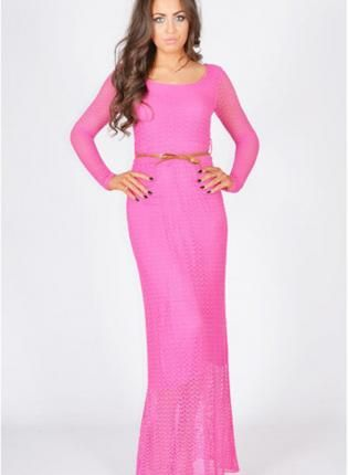 Pink Long Sleeve Crochet Lace Maxi Dress | Lace, Sleeve and Long ...