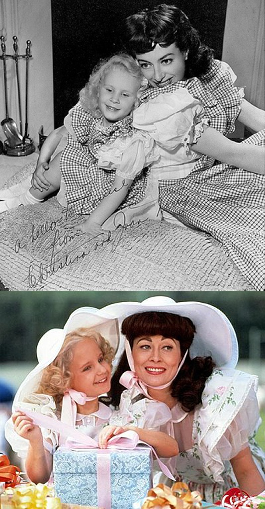 At top, Joan & Christina Crawford, and at bottom as portrayed by Faye Dunaway & Mara Hobel in Mommie Dearest (1981).