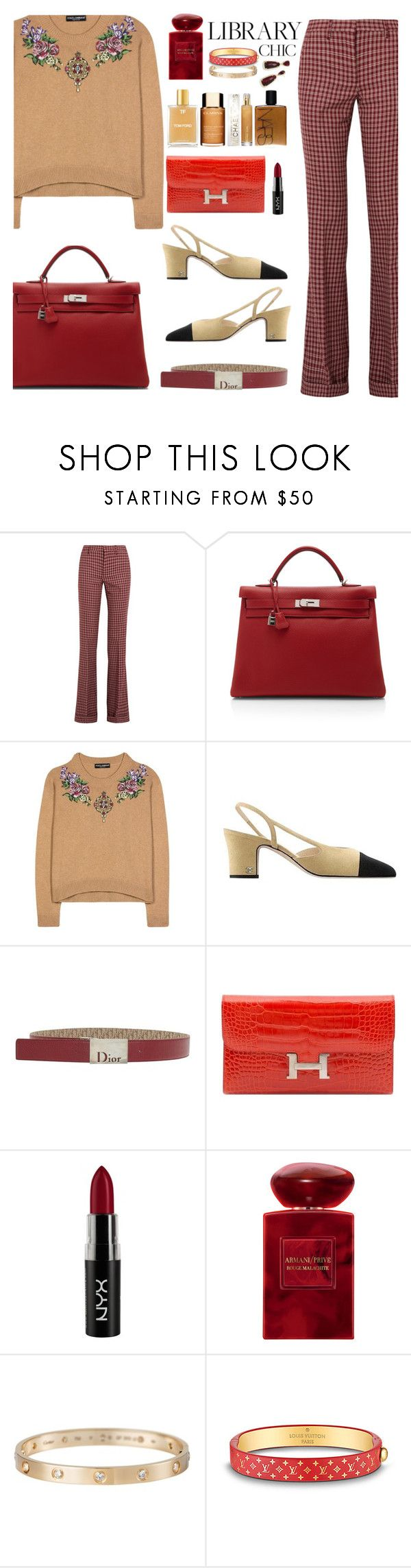 """Untitled #21"" by maraihp ❤ liked on Polyvore featuring Miu Miu, Hermès, Dolce&Gabbana, Chanel, Christian Dior, NYX, Giorgio Armani, Cartier, Louis Vuitton and Kendra Scott"