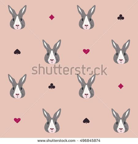 Pattern with fairy rabbit. Background with bunny in Wonderland
