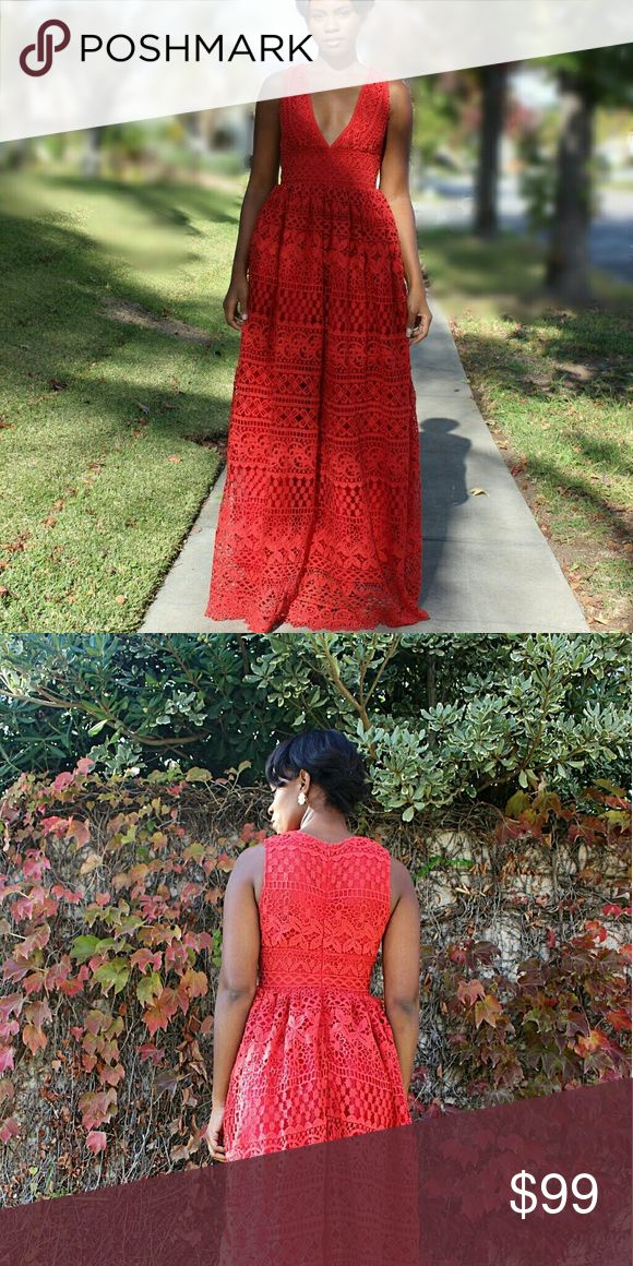 Latiste Red Crochet Maxi Dress will take best offe This beautiful maxi dress is sure to turn heads. It comes fully lined. Has a hidden zipper in the back Dresses Maxi