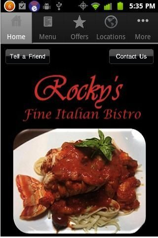 Rocky's Italian Bistro and Bar, Delray Beach, FL<p>Easy access to menu's, events and more.<p>Features:<br>- Complete menu listing<br>- Restaurant hours<br>- Location - via maps<br>- Tell a friend, via social connect, and email<br>- In-App reservations<br>- Offers/Specials/events<p>Located in the heart of Delray Beach. Rocky's has been serving the best Italian food in South Florida since January of 2000. Rocky's is the only fine dining Italian restaurant in South Florida which offers both…