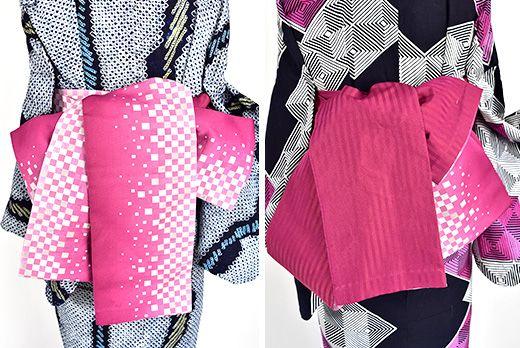 紫がかったこっくりとしたピンクルージュカラー愛らしくリズミカルにデザインされた市松幾何学パターンの半幅帯です。