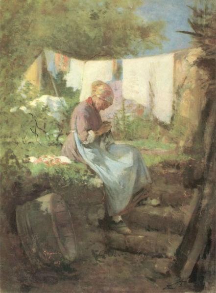 Nicolae Grigorescu (1838–1907) - Old Woman Darning.