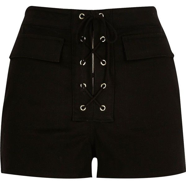 River Island Black lace-up high waisted shorts (£41) ❤ liked on Polyvore featuring shorts, high waisted shorts, zipper shorts, laced shorts, highwaist shorts and highwaisted shorts