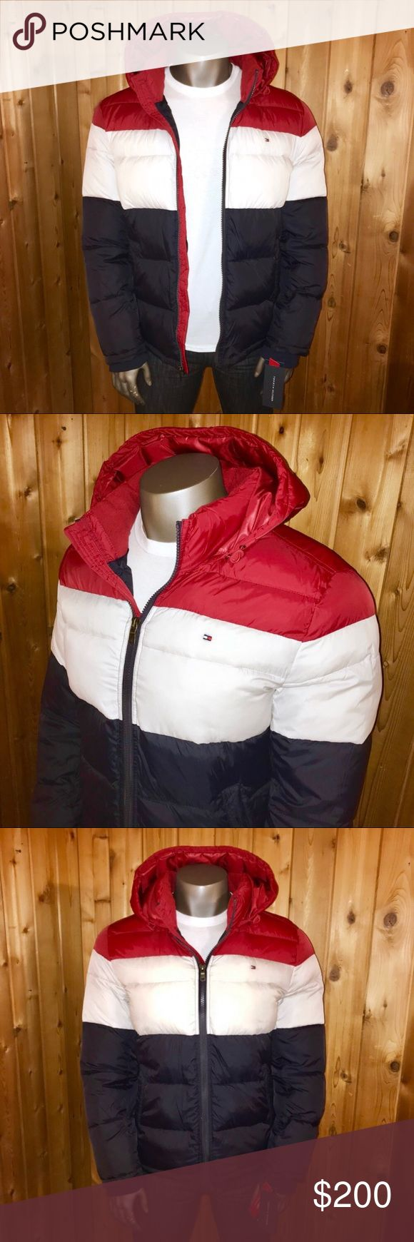 NWT! Tommy Hilfiger Hooded Men's Small Down Jacket Brand New With Tags!  Size: U.S. Men's Small Brand: Tommy Hilfiger Color: Navy Blue/Red/White Classic Mini Flag Logo Ultra Loft Down Feather Insulation Alternative Wind Resistant Weather Technology Regular Fit Made in China  Jacket comes from a smoke and pet free home  Thanks for looking! Tommy Hilfiger Jackets & Coats Puffers