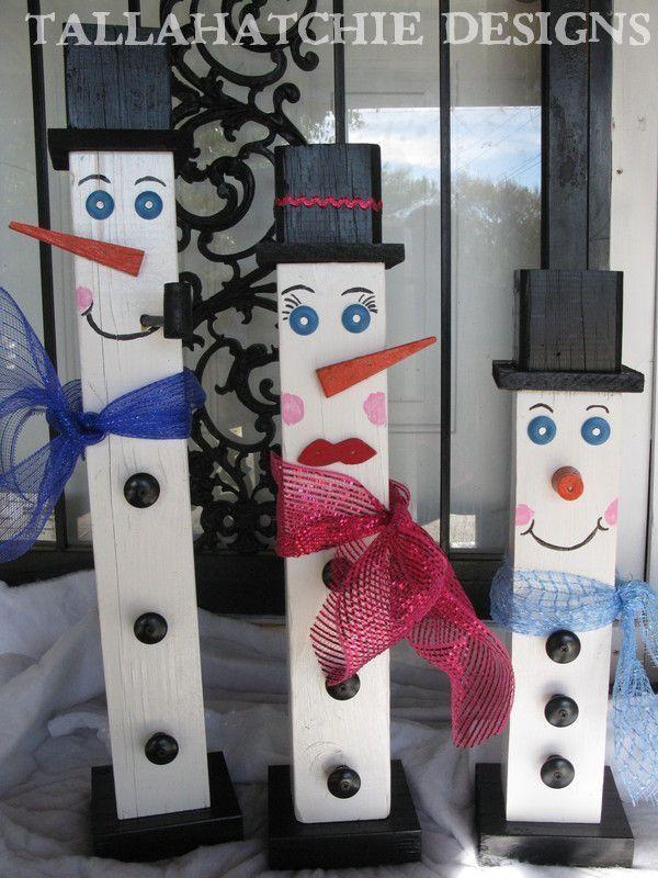 Primitive Wood Snowman Family 4x4 Fence Post Snowman