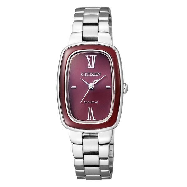 WATCH SST OVAL RED DIAL & BEZEL ECO DRIVE WR50M SST BAND 20MM - Jons Family Jewellers