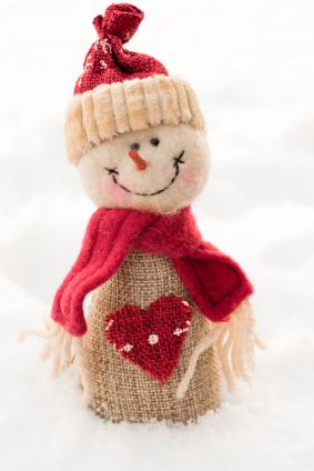 Snowman made with burlap - cuteness
