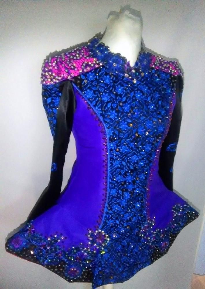 Stunning Purple AveCeltic Irish Dance Dress Solo Costume For Sale