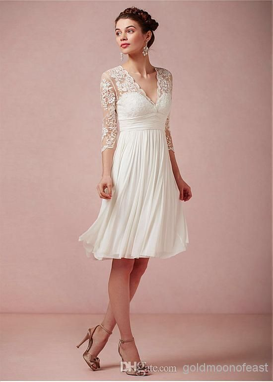Wholesale Bride Dresses Buy Long Sleeve Lace And Chiffon Knee