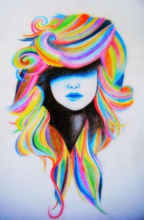 imgfave - amazing and inspiring imagesRainbows Hair, To Drawing, Hair Art, Self Portraits, Hair Drawing, Colours Hair, Bright Hair, Colors Pencil, Colors Hair