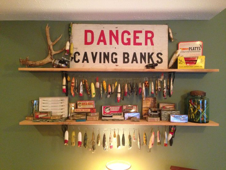 Vintage fishing lure display