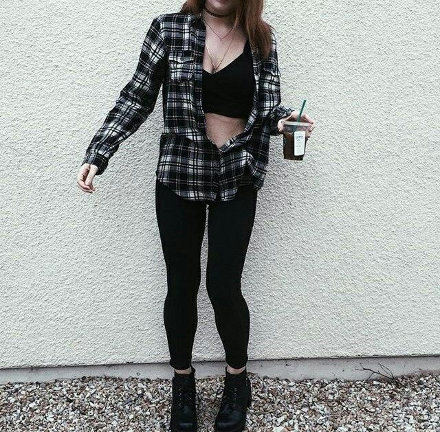 17 Best Images About Fashion On Pinterest Black Crop Tops Plaid And Grunge Fashion