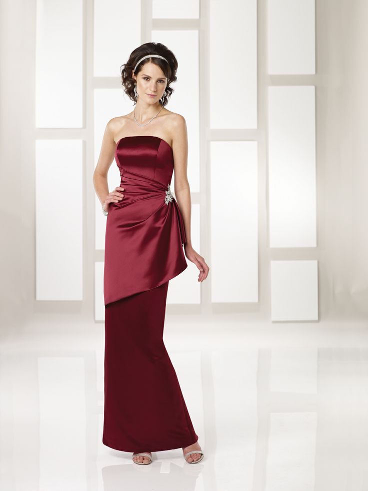 Elegant and sophisticated, strapless burgundy long, floor length bridesmaid gown/dress