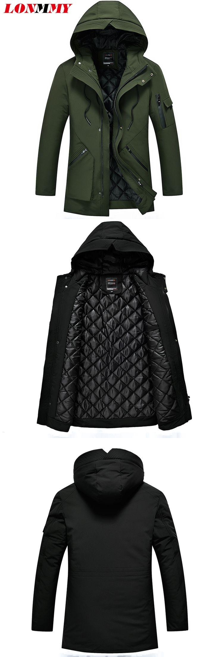 LONMMY 5XL Winter jackets mens parka men thicken Coats male Causal Outerwear Streetwear Gray Black Army green windbreaker 2017