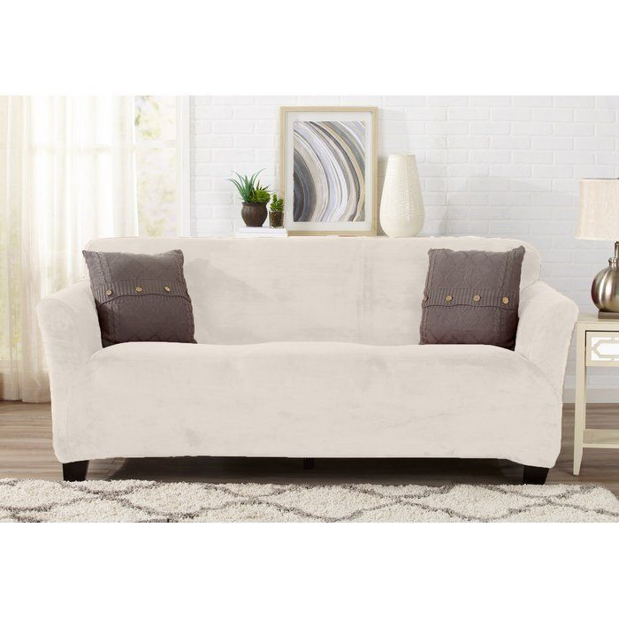 Velvet Plush Form Fit T Cushion Sofa Slipcover Slipcovers For Chairs Slipcovers Dining Chair Slipcovers