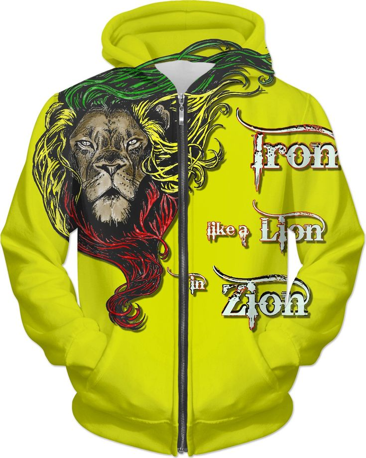 Iron like a Lion, in Zion. Yellow rasta hoodie, Reggae music themed hooded sweatshirt design - for more art and design be sure to visit www.casemiroarts.com, item printed by RageOn at www.rageon.com/a/users/casemiroarts - also available at www.casemiroarts.com This product is hand made and made on-demand. Expect delivery to US in 11-20 business days (international 14-30 business days). (time frames are aproximate) #hoodie #clothing #style #hoody #fashion