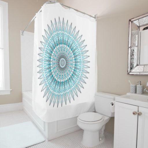 Silver Blue White Mandala Ornament Shower Curtain110 best Shower Curtains images on Pinterest   Mandalas  Shower  . Blue And Silver Shower Curtain. Home Design Ideas