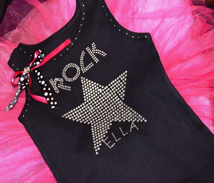 Personalized Custom Rock Star rockstar Birthday Shirt: Girls Kids toddlers crystal rhinestone tutu shirt. $29.95, via Etsy.