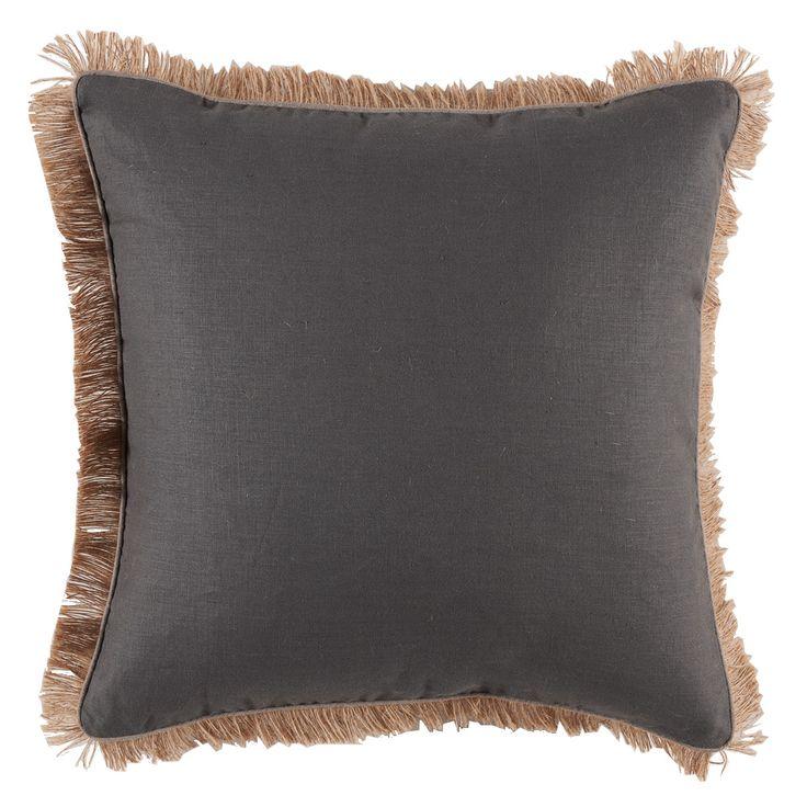 Amazing Decorative Pillows With Fringe Part - 12: Grey Linen W/ Natural Linen Pipe U0026 Jute Fringe Pillow