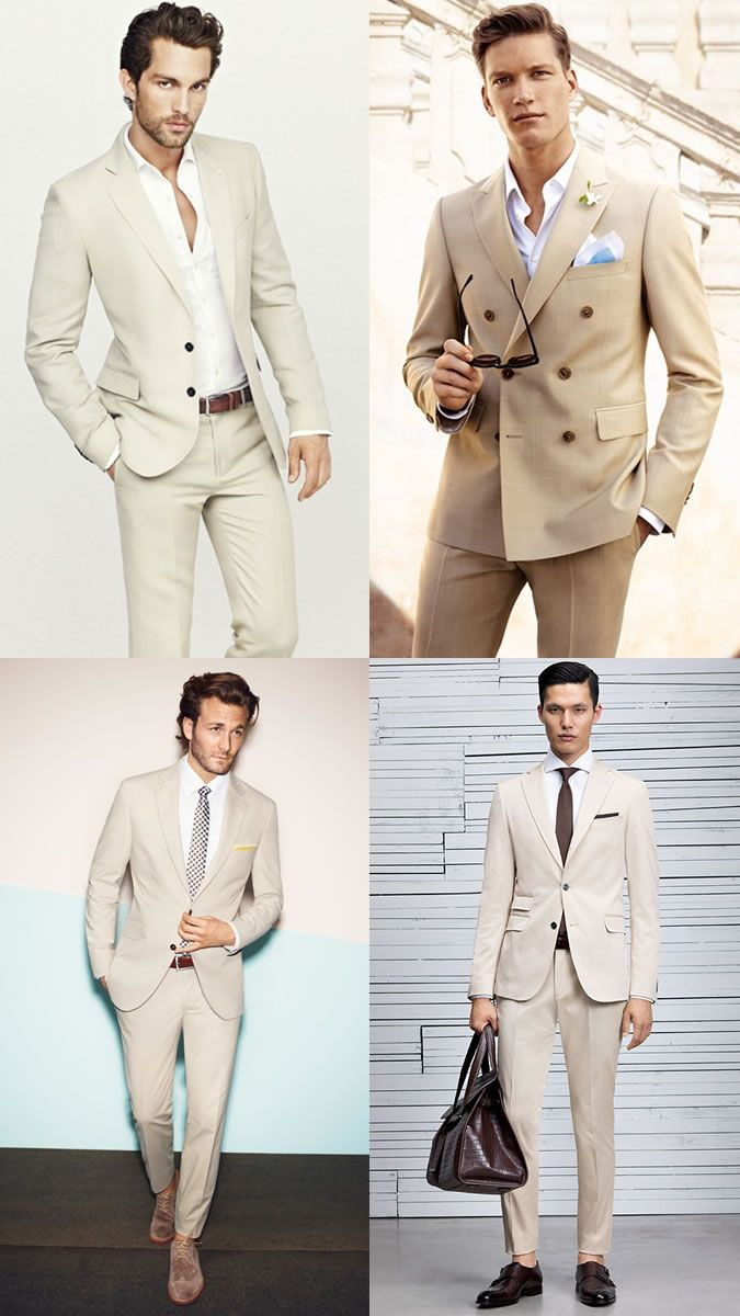 Men's Beige Suit + White Shirt Outfit Inspiration Lookbook