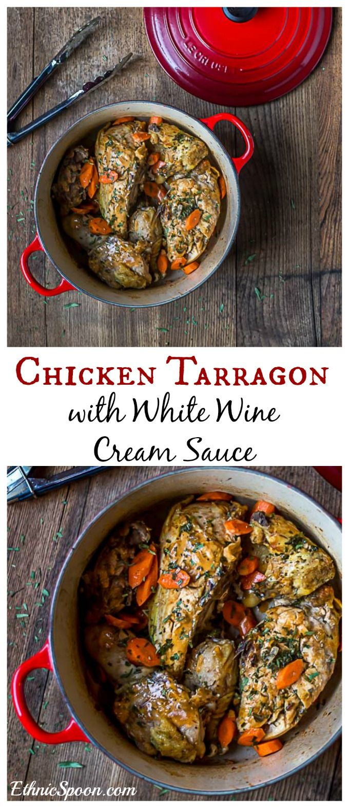 A classic French dish with a whole roaster chicken and a creamy white wine sauce.   ethnicspoon.com
