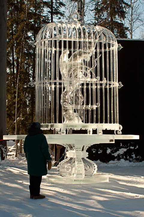 LET IT BE - - 2011 BP World Ice Art Championships,  Multi-Block Classic, 1st Place, Realistic, Junichi Nakamura, Shinichi Sawamura, Koji Murakami, Yoshimori Mabuchi all from JAPAN.  Photo by Karen Clautice