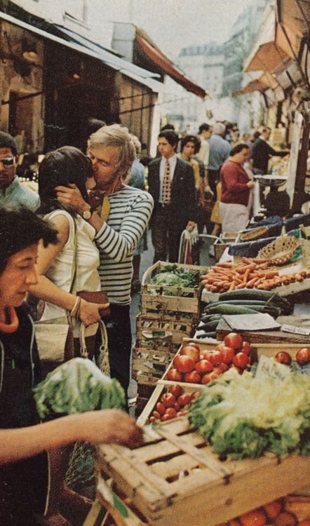 Kiss in Paris market, 1970s.