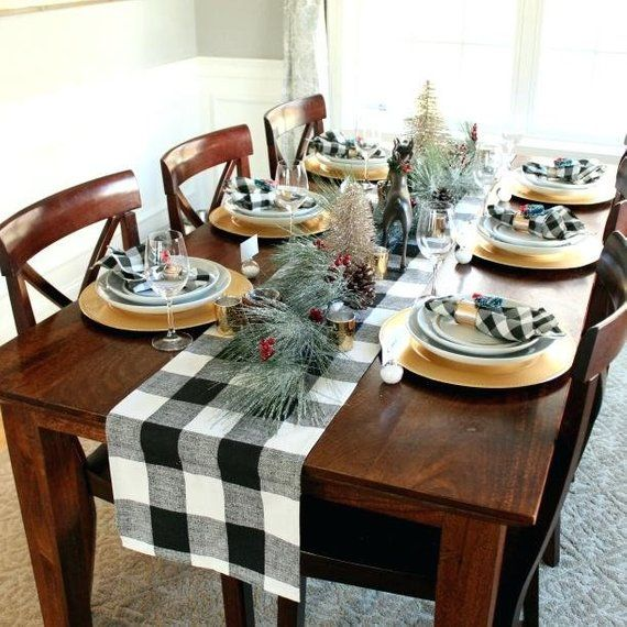 Double Layers Buffalo Plaid Christmas Table Runner Party Country Kitchen Décor