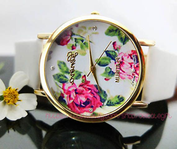Vintage Floral watch Floral watches leather Women watches Best gift for friend GIFT039 by DelicateGift, $4.99